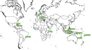 """Speaker locations for the """"Saving Swllowtails"""" Conferemnce"""
